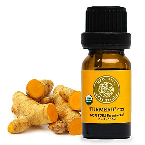 Organic Turmeric CO2 Essential Oil, 100% Pure Non-GMO USDA Certified Organic Curcuma Longa - 10ml Undiluted | Pain Relief, Healthy Skin, Digestion