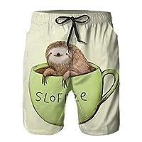 ナマケモノコーヒーカップ ショートパンツ メンズ 夏 ビーチ パンツ ファッション 余暇 ハーフパンツ 人気の アクティブ ショートパンツ