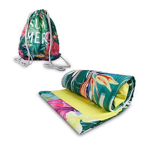 IMAGO Toalla 2 en 1, práctica toalla de playa con función de mochila, toalla de baño para transformar la mochila en 70 cm x 150 cm (Flamingo 2)
