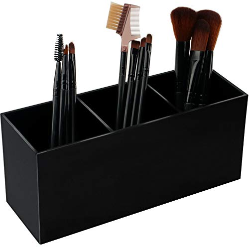 Weiai Black Makeup Brush Holder Organizer, 3 Slot Acrylic Cosmetics Brushes Storage Solution