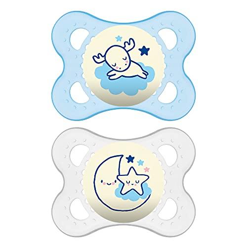 MAM Original Night ZEDMM040M - Juego de 2 chupetes luminosos, 2-6 meses, color azul