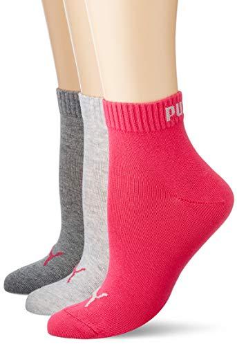 PUMA Plain 3P Quarter Socke, Mehrfarbig (Middle Grey Melange / Pink), 39-42