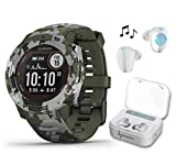Garmin Instinct Solar Sportsman Camo Edition Premium GPS Smartwatch with Included Wearable4U Ultimate White Earbuds with Charging Power Bank Case Bundle (Lichen Camo)