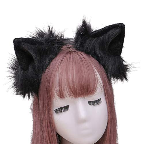 Qiman Diadema de pelo sinttico con orejas de lobo, hecha a mano, de un solo color, de felpa, para Halloween, fiestas, cosplay, disfraz