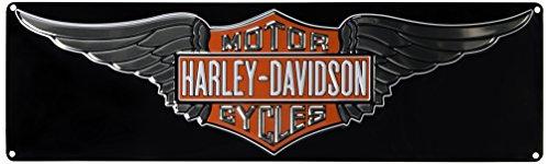 Harley-Davidson Embossed Winged Bar & Shield Tin Sign, 23 x 7 inch 2011031