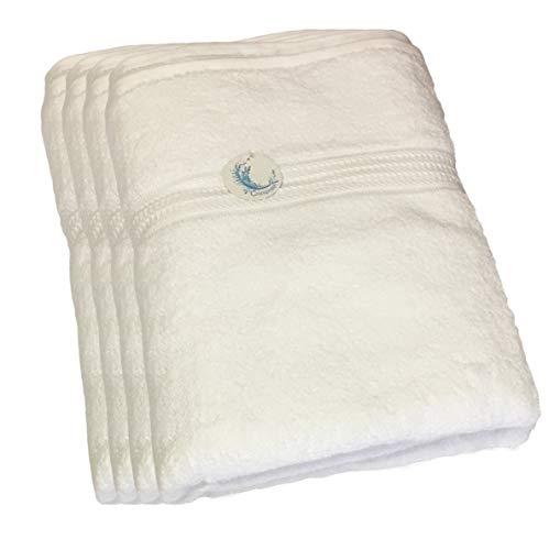 Cazsplash Lot de 4 serviettes de bain en coton bio 650 g/m² Blanc 90 x 170 cm