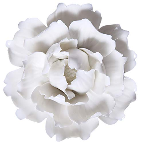 ALYCASO Peony Ceramic Flower Wall Décor Artificial 3D Flower Wall Art for Living Room Home Hallway Bedroom Kitchen Farmhouse Bathroom Dining Room, White, 4.72 inch