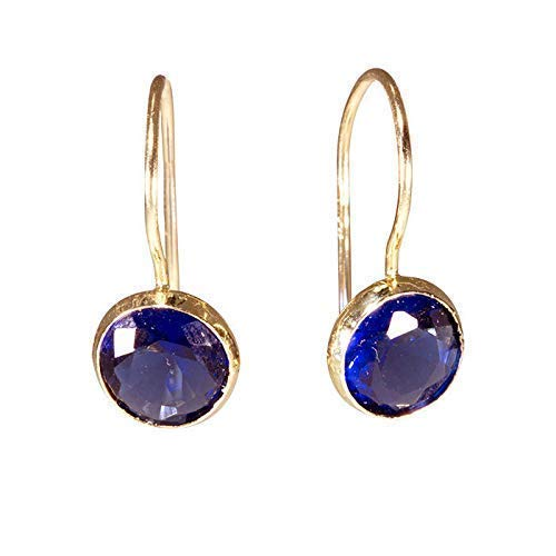 14K Gold Super sale Deep Blue Gem Earrings Yellow Round Dr Solid - Cash special price