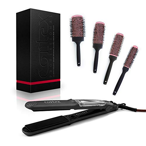 Cortex Professional Steamliner Vapor Iron Hair Straightener 1.50 Inch Ceramic Tourmaline Steamer with 4 piece Brush Salon Bundle