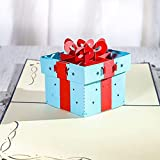 Tarjeta de Felicitación de Cumpleaños Emergente Tarjeta 3D Tarjeta Plegable de Papel Azul Caja de Regalo Tarjeta Emergente 15 * 13cm