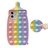 Ffish Schutzhülle für iPhone 12 / iPhone 12 Pro (6,1 Zoll), Push Bubble Fidget Stressabbau und Anti-Angst Schutz Cover + Handy Ständer, Babyflasche (Regenbogen)
