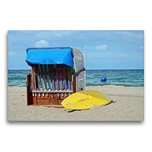 Premium Textil-Leinwand 75 x 50 cm Quer-Format Strandkorb und gelbes Surfbrett am Strand | Wandbild, HD-Bild auf Keilrahmen, Fertigbild auf hochwertigem Vlies, Leinwanddruck von Sarnade