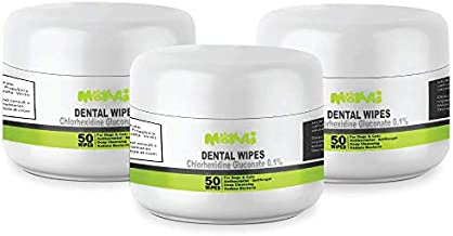 MOKAI Dental Wipes for Dogs and Cats | Pads with Chlorhexidine and Sodium Hexametaphosphate Remove Plaque Tartar Buildup Calculus and Bad Breath, Preventing Tooth Decay and Gingivitis (150 Count)
