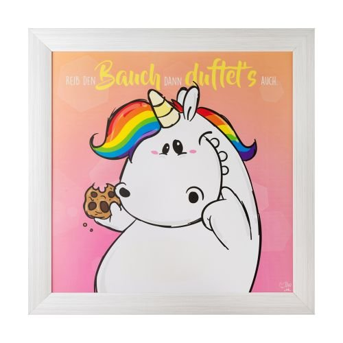 Pummel & Friends - Gerahmtes Bild (mit Duft, 50x50cm) - Pummeleinhorn (Bauch)