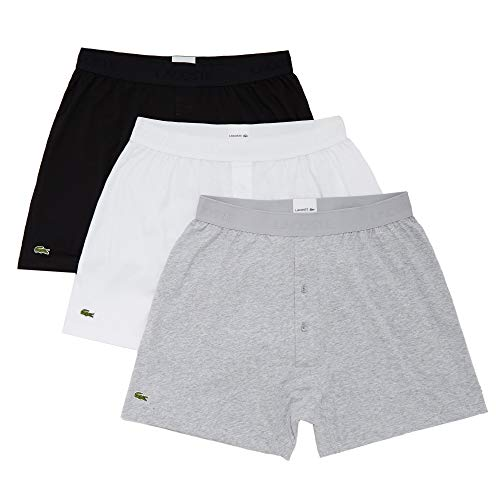 Lacoste Men's Essentials Classic 3 Pack 100% Cotton Knit Boxers, Black/Silver Chine/White, XS