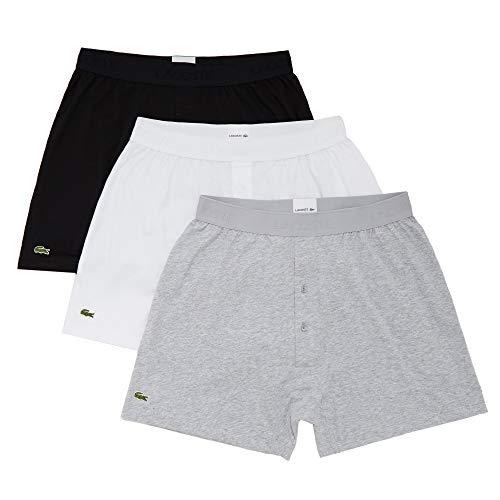 Lacoste Men's Essentials Classic 3 Pack 100% Cotton Knit Boxers, Black/Silver Chine/White, S