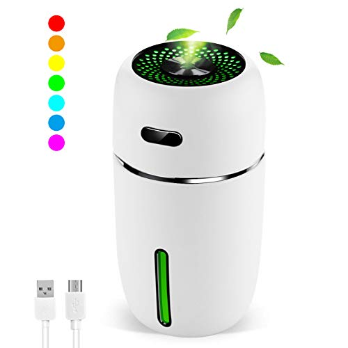 MZTDYTL Portable Mini USB Humidifier, 200ml Ultrasonic Cool Mist Humidifier with 7 Colors Light Changing for Bedroom Home Office Travel,Auto Shut-Off, Super Quiet Operation (White)