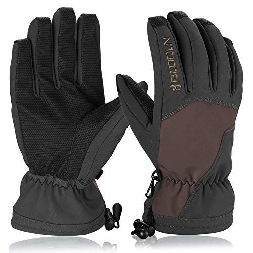 Hicool Skihandschuhe für Herren Damen Winter Sporthandschuhe Outdoor Thermo Handschuhe für Ski Snowboard Wandern Rad Motorrad (Braun/Schwarz, L)