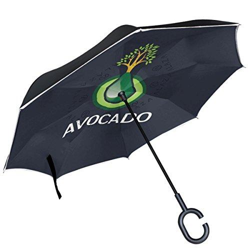 Alaza Avocado Logo Baum dunkelblau seitenverkehrt Regenschirm Double Layer winddicht Rückseite Regenschirm