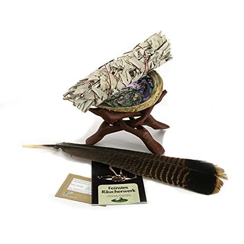 Set grande para el sahumerio con Salvia Blanca Apiana. Concha de 6-7pulgadas, pluma de pavo silvestre, tripode de mader