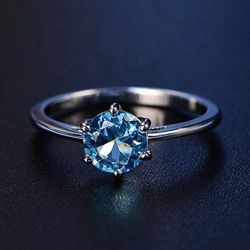 DGSDFGAH Anillo Mujer Anillo De Dedo De Diamantes De Imitación Redondo Azul Cielo para Hombres Y Mujeres, Boda Y Compromiso