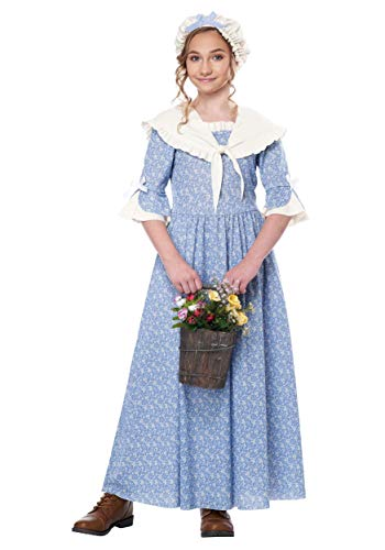 California Costumes Girls Colonial Village Girl Child Costume Blue/Cream, Extra Large