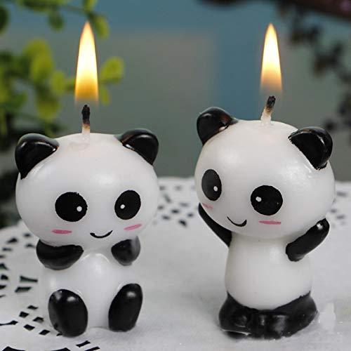 WWWL Creative candle 2pcs/pair Cute Panda Kid's Birthday Cake Candles Birthday Party Decoration Candle.Creative Birthday Cake Toppers Party Supplies DarkKhaki