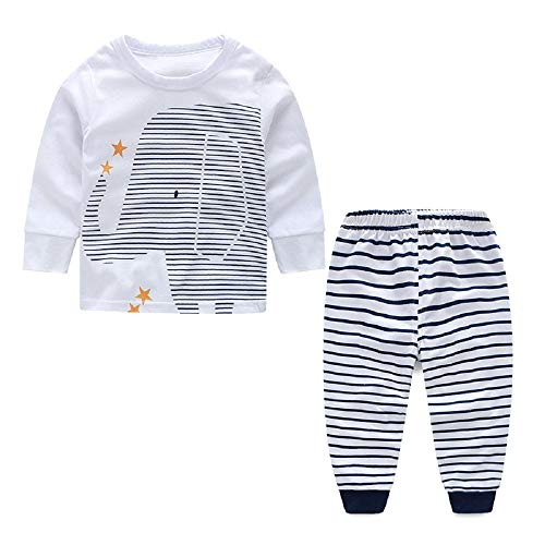 Ropa Bebe Recien Nacido Conjunto Primavera Niño Traje Deportiva Verano Camisa Elefante Blanco y Pantalones 18/24 Meses