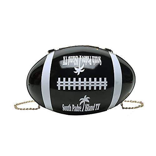 Geldbörse in Fußballform für Frauen, witzige Tasche Novlety Rugby Handtasche Hardcase Abendtasche Kette Geldbörse Crossbody Schulter Handtasche