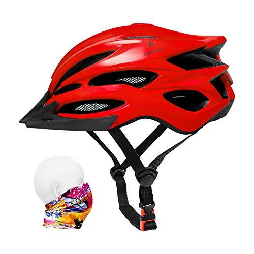 ioutdoor Casco da Bici Premium, Certificato CE CPSC, Casco da Bici con Visiera Solare Rimovibile e Rete per Insetti, Casco da Bici Regolabile Super Leggero per Sport All'aperto (Rosso)
