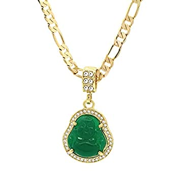 L & L Nation 14K Gold Plated High Fashion Lucky Smiling Buddha Charm Pendant Green Red White Black Blue On Valentino Chain  1.Green