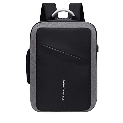 QXJTX High capacity 26L Oxford cloth USB school backpack waterproof 15 inch laptop bag travel business bag hiking mountaineering Travel mountaineering (Color : Grey)