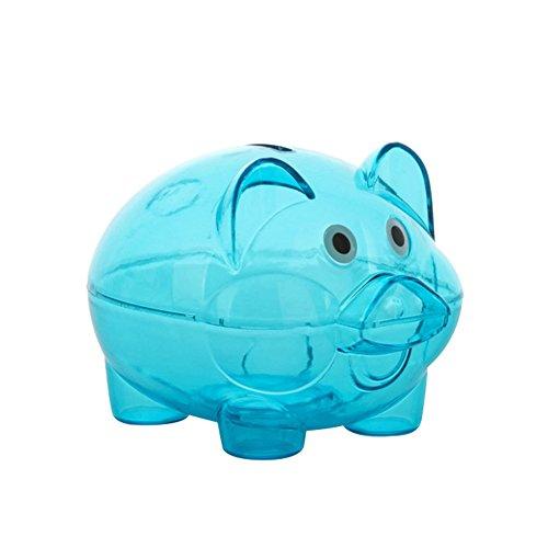 Schönes durchsichtiges Kunststoff-Sparschweinchen für Münzen und Bargeld, zum Öffnen, Geschenk für Kinder, plastik, blau, Einheitsgröße