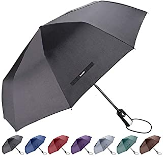 "TradMall Travel Umbrella with 10 Reinforced Fiberglass Ribs 42"" Large Canopy Ergonomic Handle Auto Open & Close, Black"
