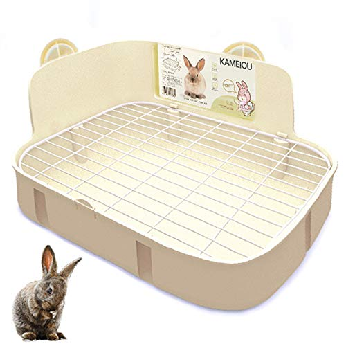 White Rabbit Litter Box Toilet for Ferret Galesaur Guinea Pig Bunny Rabbits Corner Litter Pan Potty...