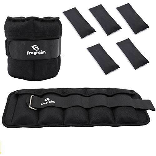 Fragraim Adjustable Ankle Weights 1-5 LBS Pair with Removable Weight for Jogging, Gymnastics, Aerobics, Physical Therapy, Resistance Training|0.5-2.5 lbs Each Pack, 2 Pack, Black