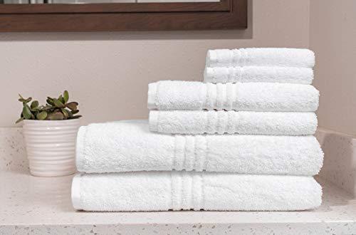 Juego de 2 toallas de baño de 100 x 150 cm, 2 toallas de mano de 60 x 100 cm y 2 toallas de bidé de 40 x 60 cm, 100 % algodón, 400 g/m², blancas.
