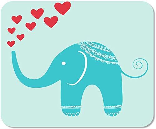 Rutschfestes Mousepad Mauspad Computer-Büro-Rosa-Charakter-Orientalischer Elefant-Brunnen Der Herzen Roter Kindischer Hauptschulspiel-Spieler-Computer-Arbeiter,25X30 cm