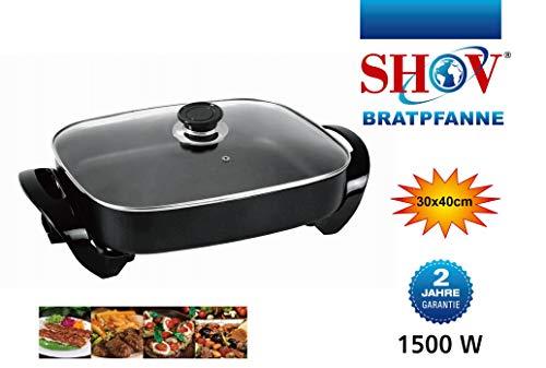 Elektrische pan Ø 30x40 cm pizzapan Partypan elektrische pan braadpan paella pan XL