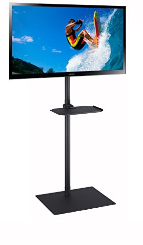 """Elitech TV Portable Floor Stand with Middle Shelf and Height Adjustable Mount for Flat Panel Screen 32"""" to 55"""""""