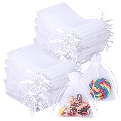 100 bolsas de organza de 10 x 12 cm, bolsas de organza para joyas, bolsas de regalo para bodas, bolsas de regalo pequeñas, bolsas para joyas, bolsas para regalos de boda con cordón, bolsas de dulces