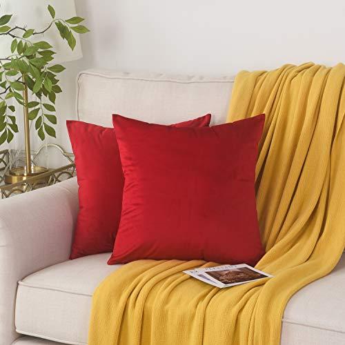 Fangzhuo - Juego de 2 fundas de cojín decorativas de terciopelo para sofá, cama, sala de estar, 40,6 x 40,6 cm, color rojo