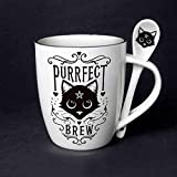 Pacific Giftware Sacred Cat Purrfect Brew Ceramic Mug and Spoon Set by Alchemy England