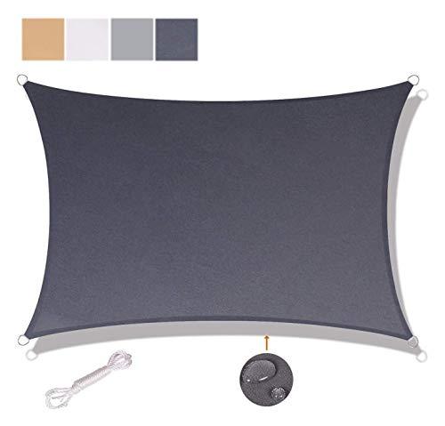Parasol de Vela Protector Solar Rectangular de toldos for al Aire Libre del Partido de jardín Terraza 90% de protección UV y Resistente al Agua (3x4m, Antracita)