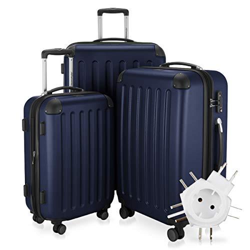 Hauptstadtkoffer - Spree - 3er-Koffer-Set Trolley-Set Rollkoffer Reisekoffer-Set Erweiterbar, TSA, 4 Rollen, (S, M & L), Dunkelblau +Universal Reiseadapter