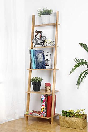 HYNAWIN Ladder Shelf 5Tier Bookshelf –Bamboo Storage Rack Shelves Wall Leaning ShelfFree Standing Plant Flower Stand Corner Display Bookcase for Living Room Bathroom Kitchen Office