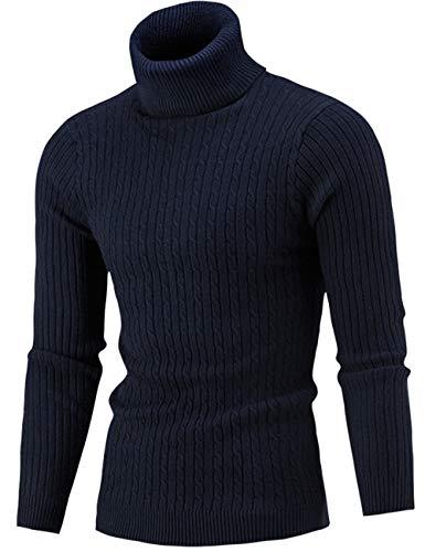 Pinkpum Homme Pulls Col Roulé Coton Uni Sweater Slim Fit Manches Longues Casual Chandail Bleu S