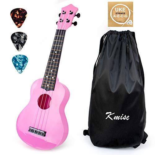 Soprano Ukulele for Beginners Kids Pink ukulele 21 inch ukelele Birthday Chrismas gift kit with Bag Picks String