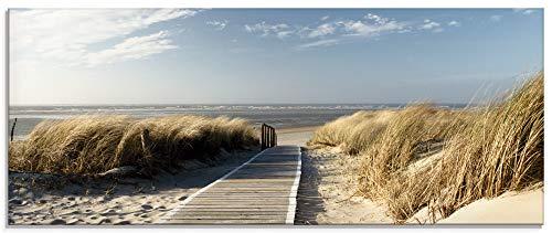 Artland Küchenrückwand Glas mit Motiv Spritzschutz Küche 125x50 cm Strand Urlaub Sand Meer Himmel Wolken Landschaft Nordsee Langeoog Steg maritim T5RM
