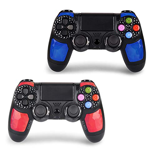 2 Pack Game Controller for PS4 - Dual Vibration 4 Wireless Controller for Playstation 4 – Joystick with Sixaxis, Bluetooth, Super Power, Micro USB (2 Pack)